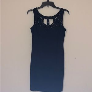 Black studded fitted party dress